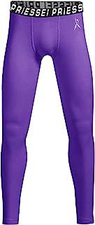 PRIESSEI 男孩压缩紧身裤青少年运动紧身裤运动打底裤适用于跑步足球篮球棒球