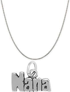Raposa 优雅标准纯银 Nana 字母吊坠项链(40.64cm,45.72cm 或 50.80cm 链子)