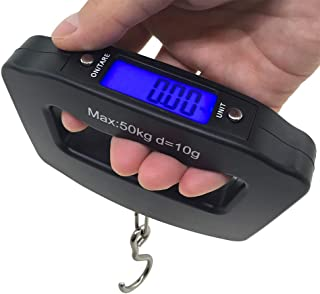 AFUNTA 50 千克 10 克 LCD 家用电子数字便携式悬挂式重量挂钩旅行行李秤