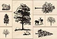 Inkadinkado 树安装橡胶印章套装,8 件