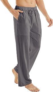 YuKaiChen 男式休闲沙滩裤抽绳棉麻宽松下装瑜伽裤口袋