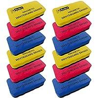 D.RECT 白板海绵 EVA 磁性套装 - 12 件装 - 磁性板清洁橡皮擦 - 带强力磁铁的雨刮器用于干洗白板 - 12 件