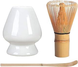 3 件套抹茶茶工具套装竹制搅拌机,竹勺,陶瓷搅拌架,适合传统日本茶典使用(白色)