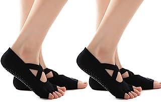 2 件装女式瑜伽袜 - 防滑袜子,适用于普拉提、舞蹈和舞蹈