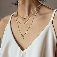 fxmimior 3 层精致亮片金珍珠分层项链金色波西米亚颈链亮片吊坠多层项链珠宝可堆叠项链女士和女孩