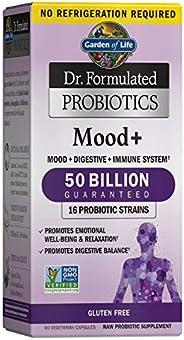 Garden of Life Dr. Formulated Probiotics Mood+ - Acidophilus Probiotic 素食补充胶囊,促进情绪放松,吸收平衡,不含麸质-60粒,包装可能有所不同