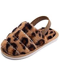 幼儿小童毛绒毛绒拖鞋温暖羊毛人造毛皮一脚蹬室内家居拖鞋男孩女孩适用