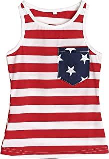 JEELLIGULAR 7 月 4 日 Mommy and Me T 恤幼童女童和妈妈美国国旗背心条纹星星 T 恤