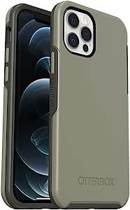 OtterBox 对称系列手机壳,适用于 iPhone 12 和 iPhone 12 Pro - 伯爵灰色(素食/攀岩象牙色)