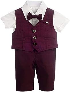 Dressy Daisy 婴儿男孩西装绅士婚礼服装 4 件套正式礼服穿着格子短袖