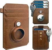 CAXGEK 极简主义钱包兼容 AirTag 2021,超薄前口袋钱包,带 AirTag 2021 支架保护套[杏子,不包括空气标签]