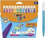 BIC 比克 兒童麥克筆 Kid Couleur 嬰兒筆 12 支可水洗氈筆 流行顏色 適合1 歲以上作用 紙箱裝