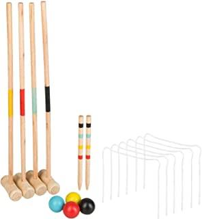 由木头制成的摇滚游戏,带球拍、球、金属门和目标标记棒,实用的携带网,有趣的花园和公园休闲游戏