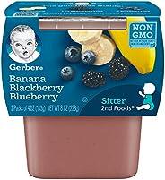 Gerber 嘉宝 二段辅食,香蕉浆果泥,4 盎司 (约 113.4 克)每盒,2组(8 件装)