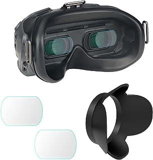 适用于 DJI FPV 飞行护目镜 V2 镜头钢化玻璃保护膜和兼容的 FPV 镜头罩