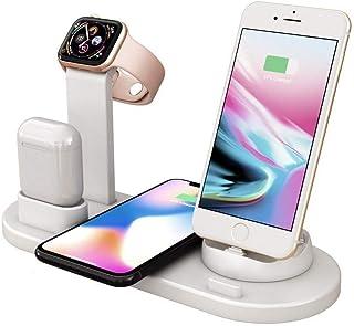 充电底座   4 合 1 充电器,带 Qi 无线充电板,适用于 iPhone Se 2020/11/11 Pro 系列/X/XS/8,三星 Galaxy S20/S10/S9/S8,Note10/9 & AirPods/Apple Watch ...