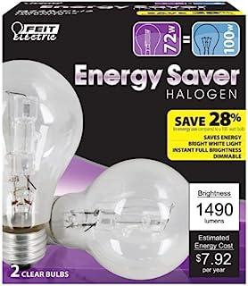 Feit Q72A/CL/2 72 瓦 ES 卤素灯 A19 透明100 瓦等效,2 件装