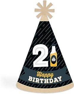 Big Dot of Happiness 欢呼和啤酒到 21 岁 - 圆锥生日快乐派对帽子适合儿童和成人 - 8 件套(标准尺寸)