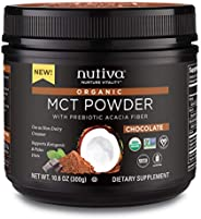 Nutiva 美國農業部認證**中鏈分*粉,含益生元丙烯酸纖維,卡克力及膠囊酸,來自非轉*,美國農業部認證*新鮮椰子, 10.6-盎司 巧克力色 10.60 oz.