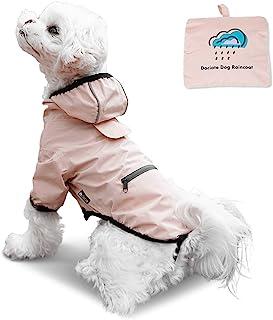 狗狗雨衣带口袋可折叠轻便 – 防水雨披连帽衫带皮带孔 – 防雨夹克适合小型中型犬 – 透气弹性肩带纽扣封口