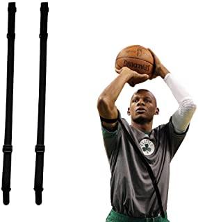 Shiyode 篮球射击辅助直射手带 2 件训练姿势腰带校正辅助设备让肘部保持直进和跟随,适合儿童和青年运动员 – 黑色