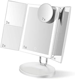 TOUCHBeauty 7X/3X/2X/1X 放大化妆镜带LED灯的三折化妆镜 小巧超薄可充电化妆镜