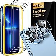 [6 件装] iVoler 4 件装屏幕保护膜与 iPhone 6.1 英寸 13 Pro 兼容 2 件装相机镜头保护膜,钢化玻璃膜[防刮] [易于安装工具] [9H 硬度] - 高清透明
