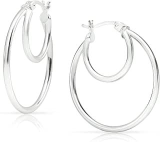 实心银 - 25 毫米或 30 毫米双圆管抛光环状耳环 纯银或镀黄金的镀金