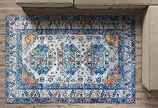 Benissimo 15.24 x 22.86 厘米复古地毯,传统复古设计,可水洗,棉质,室内复古地板地毯,适用于卧室、客厅、厨房、儿童房、走廊、玄关、棕色和米色传统