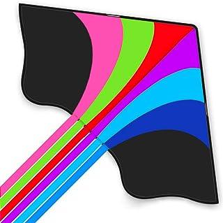 Tomi Kite - 大彩虹风筝 - 适合儿童和成年人 - 轻松自在风或软风中发射 - 152.4 厘米宽 - 100 米长 - 6 根尾巴 - 持久耐用 - 非常适合家庭娱乐