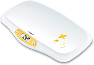 Beurer BY80 婴儿称,宠物秤,数码| 适用于:婴儿,新生儿/幼犬,猫 - 动物 | LCD 显示屏,重量[LB/OZ/KG]高度准确 | 固定和皮重功能 | 弧形称重平台(44 磅)