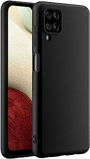 Cresee 兼容三星 Galaxy A12 手机壳,超薄硅胶保护套,带超细纤维内饰防刮超薄贴合灵活手机壳 - 黑色