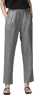 IXIMO 女士九分锥裤 * 亚麻前褶皱纽扣封口弹性腰裤
