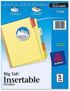 Avery 11109 5 标签分类颜色节省工作大标签纸分隔器