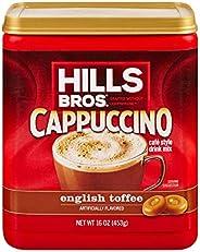 HILLS BROS 即时卡布奇诺混合,英式太妃卡布奇诺混合 - 易于使用、方便,享受来自Home-Frothy的咖啡馆风味,卡布奇诺咖啡与黄油太妃糖味 16盎司(453g)