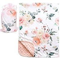 Bundled Joy Baby Gifts - 优质柔软毛绒轻质貂皮圆点幼儿新生儿婴儿毯 76.2 x 101.6 厘米 Floral Peach minkyblankets