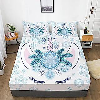 NSR 儿童独角兽床单套装单人床尺寸 3D 蓝色雪独角兽床单套装豪华柔软超细纤维单人床单,2 件套(1 个深口袋床笠 + 1 个枕套)