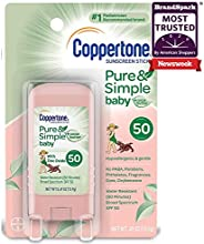 Coppertone Pure & Simple Baby SPF 50 Sunscreen Stick, Water Resistant, Pediatrician Recommended, Mineral B