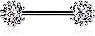 Dynamique 316L *钢无螺纹推入式乳头杠铃,每侧中心有珠饰珠边和 CZ (每对出售)
