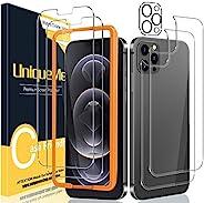 [2+2+1 件装] UniqueMe 兼容 iPhone 12 Pro Max 6.7 英寸前后屏幕保护膜 + 相机镜头保护膜钢化玻璃屏幕保护膜 【U 形切口】【不适用于 iPhone 12 Pro】。