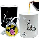 InGwest Home。 趣味咖啡杯底部带有友好的狗和舌头设计。 热敏马克杯,变色马克杯。