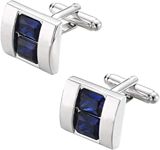 矩形蓝宝石蓝色水晶袖扣 蓝色水晶宝石袖扣 YW04u