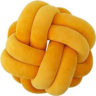 kido Knot 枕头家居装饰靠垫 - 现代家居沙发装饰抱枕(姜黄色,7.8)