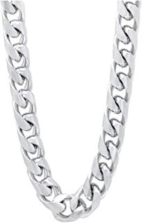 Verona Jewelers 标准纯银 9MM 古巴链式男士项链 - 大环项链 厚银项链 男式