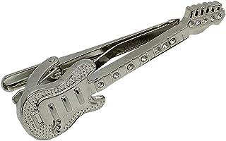 D&L Menswear 镀银吉他领带夹,带水晶