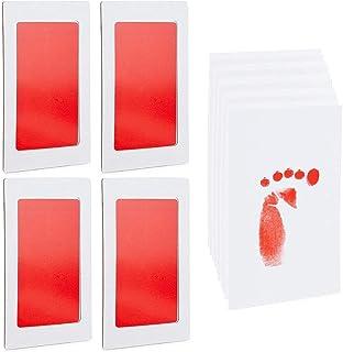 婴儿手印和脚印套装,4 个红色印泥,10 张印记卡(14 件)
