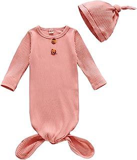 婴儿棉质打结睡袍中性款男孩女孩睡衣配连指袖口和配套的帽子婴儿居家服装
