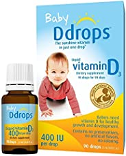 Ddrops 1072834 400 IU婴儿液态维生素D3滴剂,0.08液体盎司/2.5ml(2件)