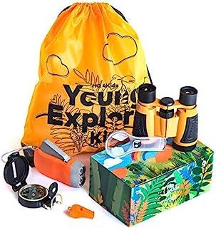 HQ4Kids-儿童户外冒险套装:双筒望远镜、指南针、放大镜和手电筒。 Explorer 徒步和露营玩具套装,非常适合探险自然、教育和生日礼物 3-12 岁