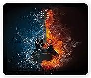 Ambesonne 吉他鼠标垫,酷炫激情设计,水彩和橙色火焰效果图解,矩形防滑橡胶鼠标垫,标准尺寸,炭灰色